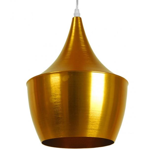 Μοντέρνο Κρεμαστό Φωτιστικό Οροφής Μονόφωτο Χρυσό Μεταλλικό Καμπάνα Φ24 GloboStar NADONG 01544