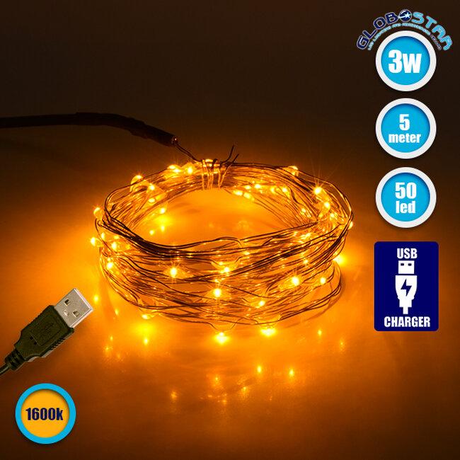 GloboStar® 79711 Διακοσμητική Γιρλάντα 5 Μέτρων 50 LED USB 5 Volt 3 Watt με Χάλκινο Συρμάτινο Καλώδιο Θερμό Λευκό 1600k - 1