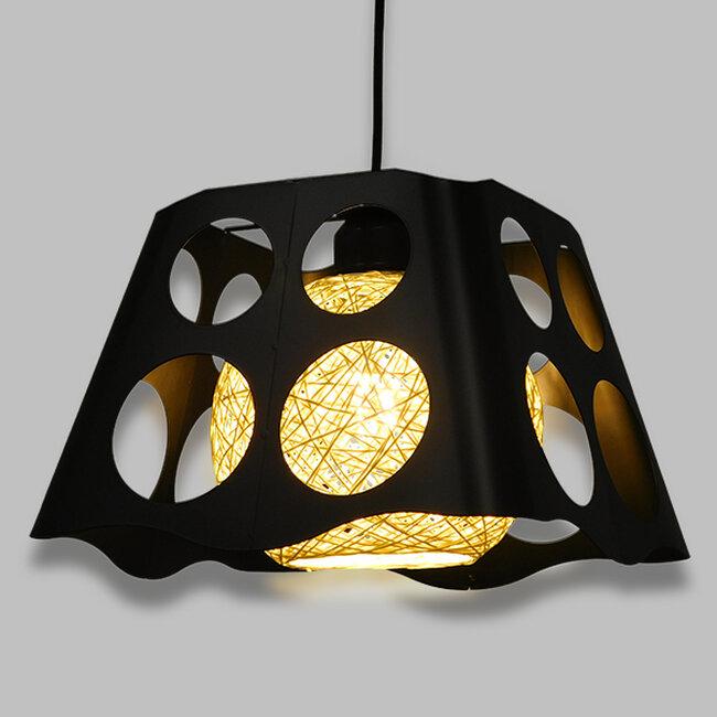 Μοντέρνο Industrial Κρεμαστό Φωτιστικό Οροφής Μονόφωτο Μαύρο με Εκρού Μεταλλικό Πλέγμα 28x28x22cm  CARTER 28x28x22cm 00962 - 2