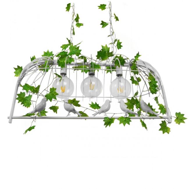 Vintage Industrial Κρεμαστό Φωτιστικό Οροφής Τρίφωτο Λευκό Μεταλλικό Πλέγμα GloboStar ACHILLEA 01647 - 3