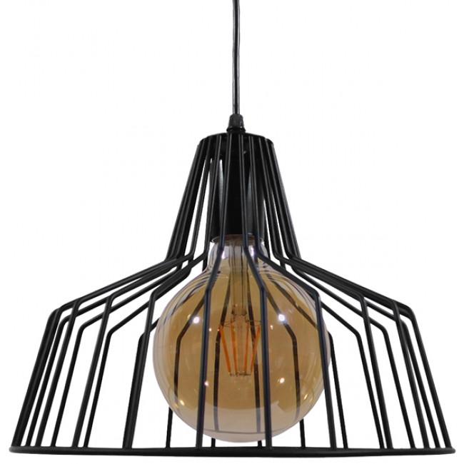 Vintage Industrial Κρεμαστό Φωτιστικό Οροφής Μονόφωτο Μαύρο Μεταλλικό Πλέγμα Καμπάνα Φ30 GloboStar TERE 01165 - 2