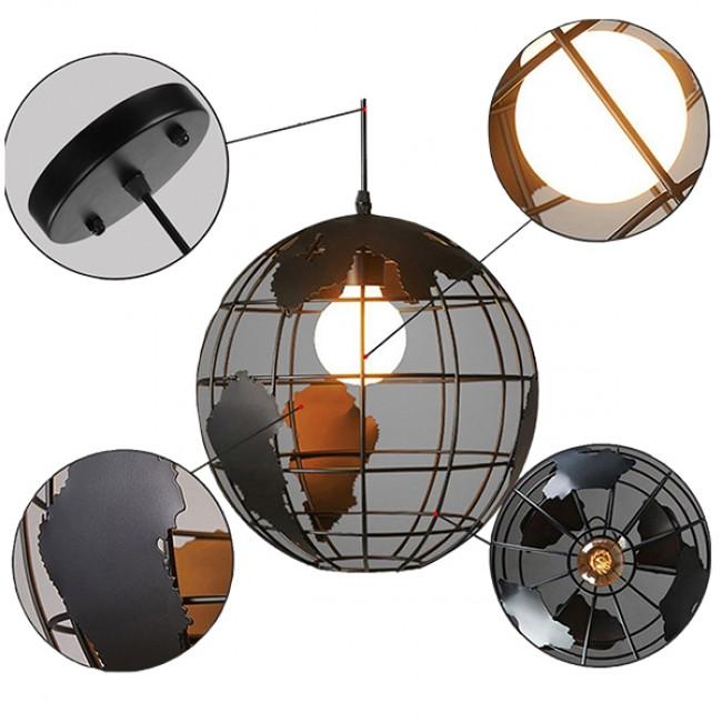 Vintage Industrial Κρεμαστό Φωτιστικό Οροφής Μονόφωτο Μαύρο Μεταλλικό Πλέγμα Φ30  WORLD 01205 - 10