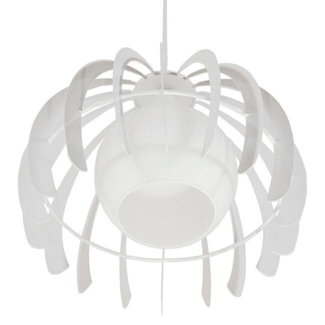 Μοντέρνο Κρεμαστό Φωτιστικό Οροφής Μονόφωτο Λευκό Μεταλλικό Πλέγμα με Λευκό Γυαλί Φ26  STEPHEN 01225 - 7