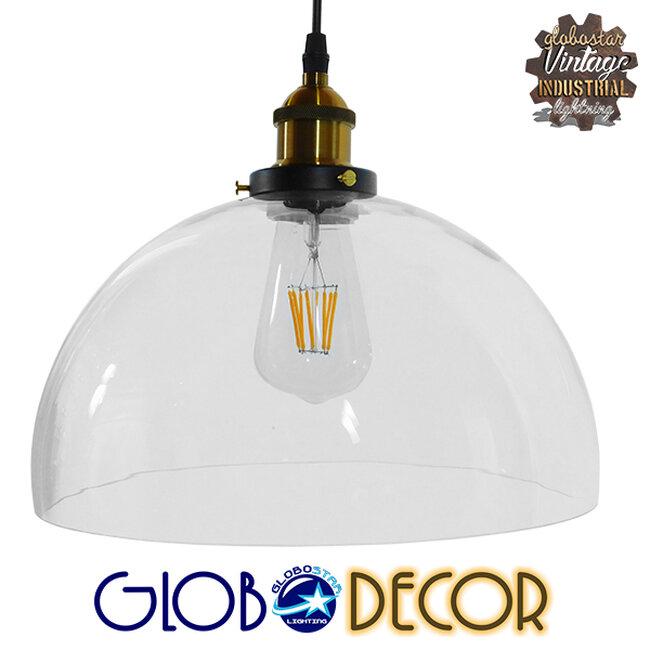Vintage Κρεμαστό Φωτιστικό Οροφής Μονόφωτο Γυάλινο Καμπάνα Φ30 GloboStar DARCY 01171 - 1