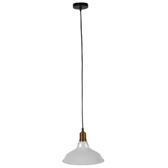 Vintage Industrial Κρεμαστό Φωτιστικό Οροφής Μονόφωτο Λευκό Μεταλλικό Καμπάνα Φ28  ANER WHITE 01072 - 2