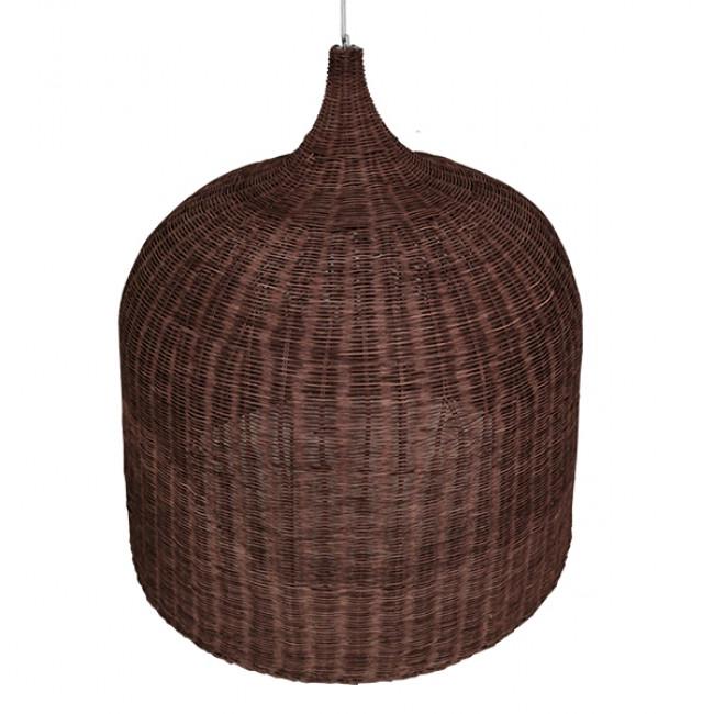 Vintage Κρεμαστό Φωτιστικό Οροφής Μονόφωτο Καφέ Σκούρο Ξύλινο Ψάθινο Rattan Φ90 GloboStar EDEN 01569 - 4