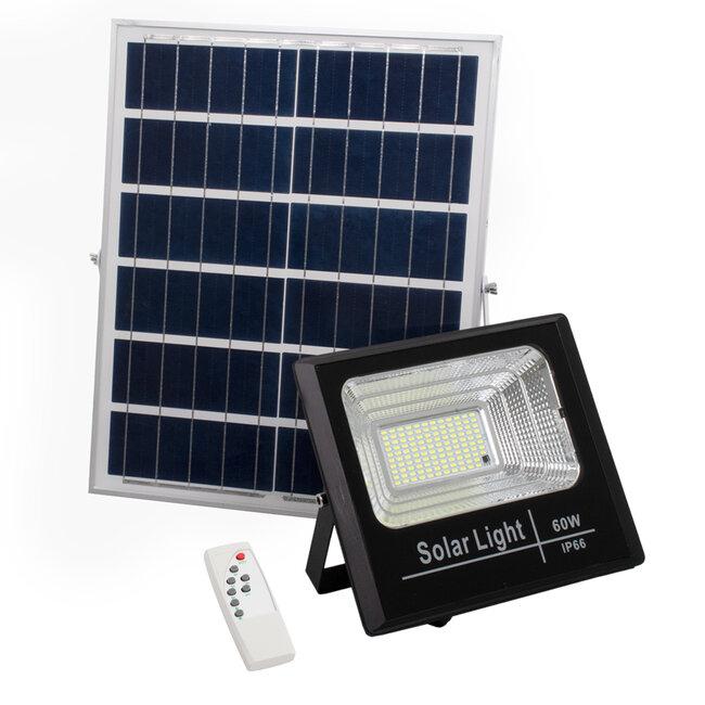 71556 Αυτόνομος Ηλιακός Προβολέας LED SMD 60W 4800lm με Ενσωματωμένη Μπαταρία 10000mAh - Φωτοβολταϊκό Πάνελ με Αισθητήρα Ημέρας-Νύχτας και Ασύρματο Χειριστήριο RF 2.4Ghz Αδιάβροχος IP66 Ψυχρό Λευκό 6000K - 2