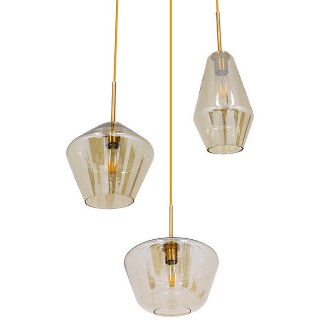 Μοντέρνο Κρεμαστό Φωτιστικό Οροφής Τρίφωτο Μελί Χρυσό με Γυαλί Φ50  ACATIA 00978 - 4