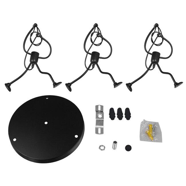 SET Μοντέρνο Κρεμαστό Φωτιστικό Οροφής Τρίφωτο Μαύρο Μεταλλικό Φ45  LITTLE MAN BLACK 01655 - 7