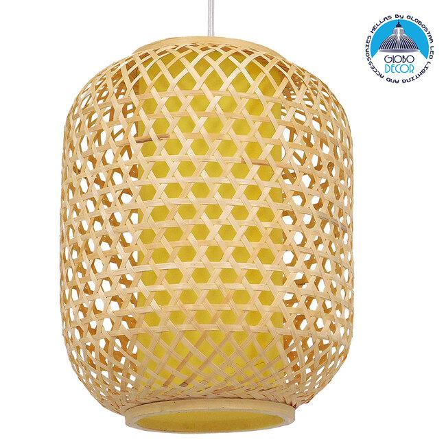 Vintage Κρεμαστό Φωτιστικό Οροφής Μονόφωτο Καφέ Ξύλινο Bamboo Φ30  MAURITIUS Φ30 00899 - 1