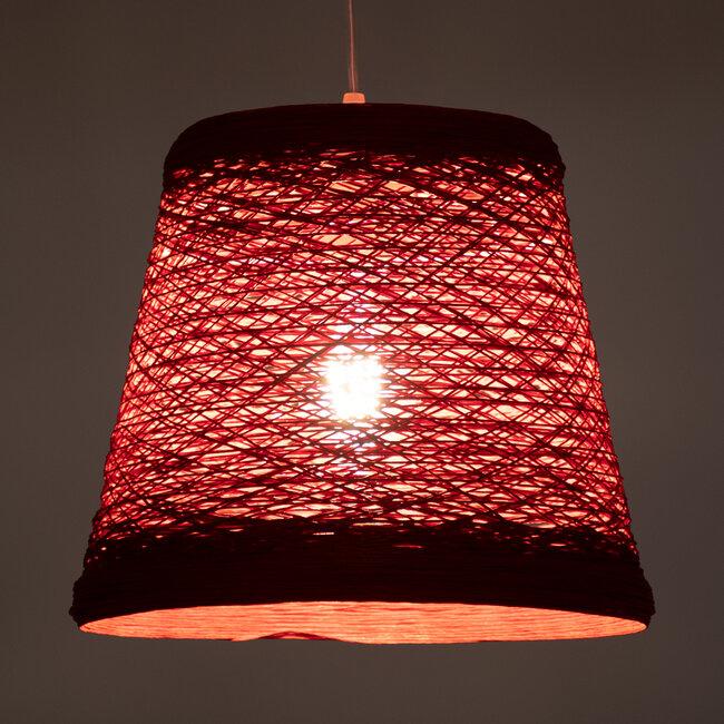 PLAYROOM 00863 Vintage Κρεμαστό Φωτιστικό Οροφής Μονόφωτο Κόκκινο Ξύλινο Ψάθινο Rattan Φ32 x Υ27cm - 3