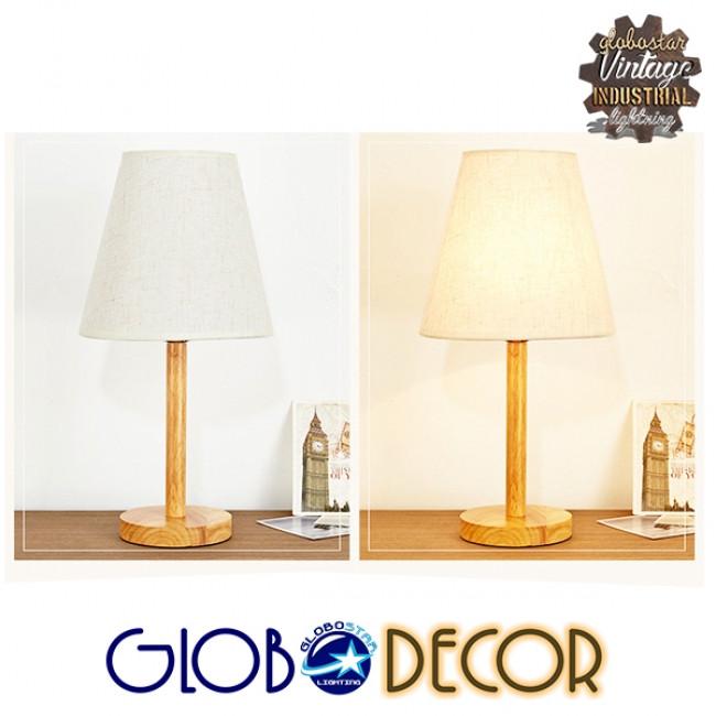 Μοντέρνο Επιτραπέζιο Φωτιστικό Πορτατίφ Μονόφωτο Ξύλινο με Λευκό Καπέλο Φ21 GloboStar NAPHIE 01208 - 4