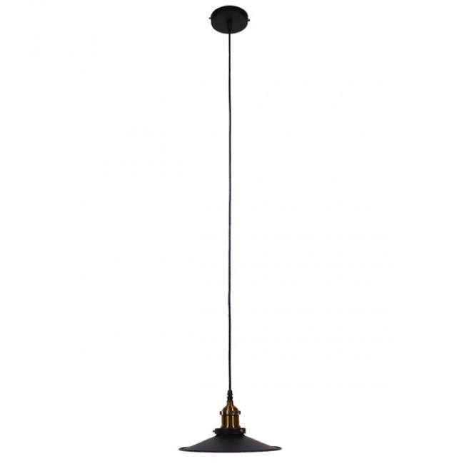 Vintage Industrial Κρεμαστό Φωτιστικό Οροφής Μονόφωτο Μαύρο Μεταλλικό Καμπάνα Φ22 GloboStar CARAVEL 01167 - 2