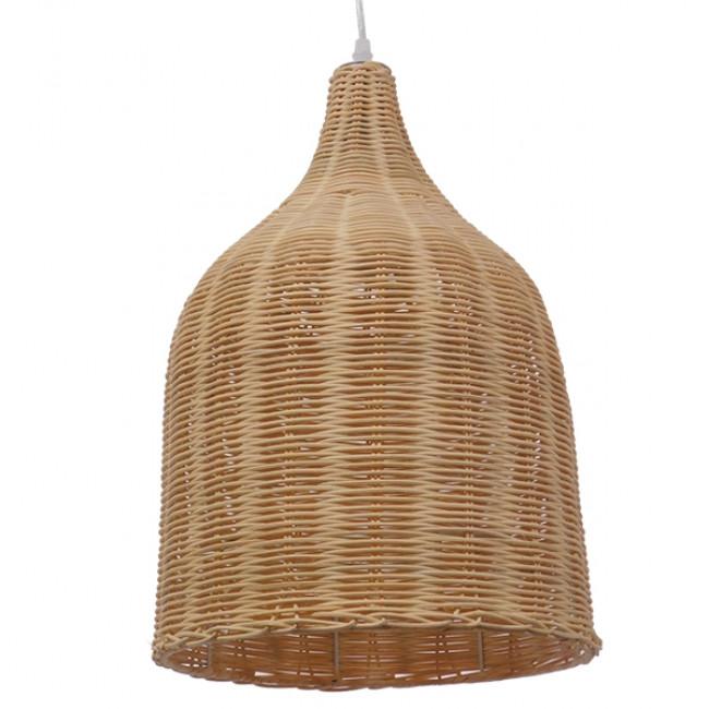 Vintage Κρεμαστό Φωτιστικό Οροφής Μονόφωτο Μπεζ Ξύλινο Ψάθινο Rattan Φ30 GloboStar NATH 01202