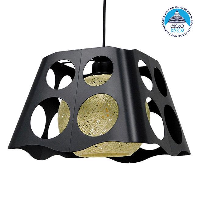 Μοντέρνο Industrial Κρεμαστό Φωτιστικό Οροφής Μονόφωτο Μαύρο με Εκρού Μεταλλικό Πλέγμα 28x28x22cm  CARTER 28x28x22cm 00962 - 1