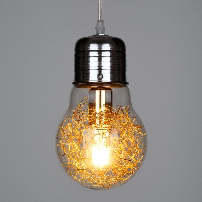 LAMP 00807 Μοντέρνο Κρεμαστό Φωτιστικό Οροφής Μονόφωτο Ασημί Νίκελ Βάση και Χρυσό Ντουί Μεταλλικό Διάφανο Γυαλί Φ15 x Υ27cm - 3