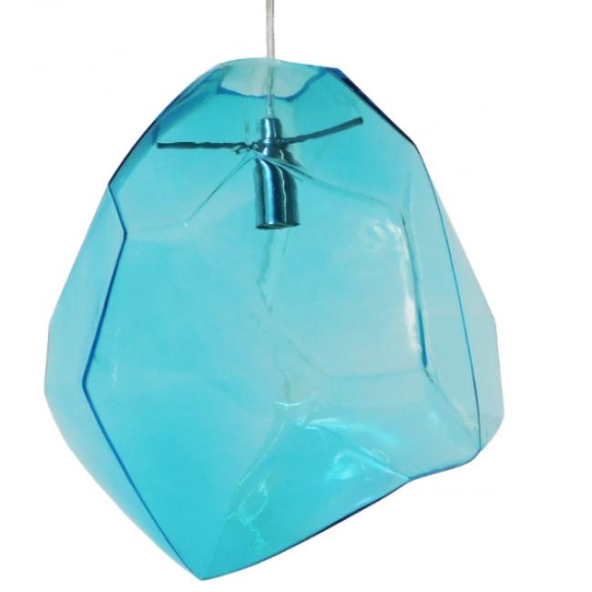 Μοντέρνο Κρεμαστό Φωτιστικό Οροφής Μονόφωτο Γυάλινο Γαλάζιο Διάφανο GloboStar LACRIMA 01306 - 1