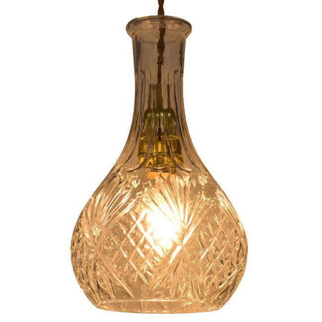 Vintage Κρεμαστό Φωτιστικό Οροφής Μονόφωτο Γυάλινο Διάφανο Φ14  RUM 01514 - 2