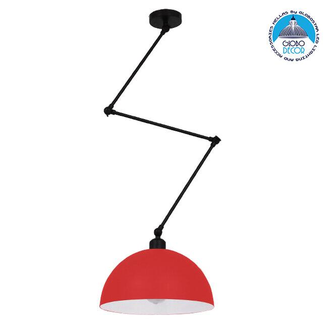 Μοντέρνο Φωτιστικό Οροφής Μονόφωτο Κόκκινο Ματ Μεταλλικό Καμπάνα Ø30Y21cm GloboStar LOTUS RED 00938