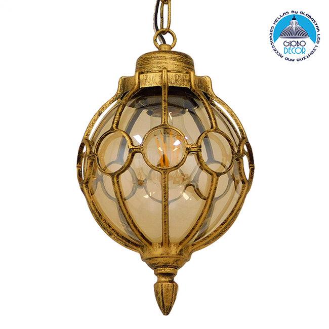 Vintage Κρεμαστό Φωτιστικό Οροφής Μονόφωτο Μπρονζέ Χρυσό Μεταλλικό Πλέγμα με Μελί Γυαλί Φ18  ETOILE 00988 - 1