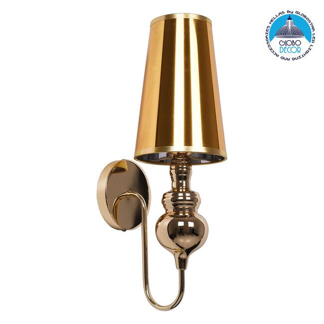 LAURA 01497 Μοντέρνο Φωτιστικό Τοίχου Απλίκα Μονόφωτο Μεταλλικό Χρυσό Φ15 x Μ15 x Π21 x Y48cm - 1