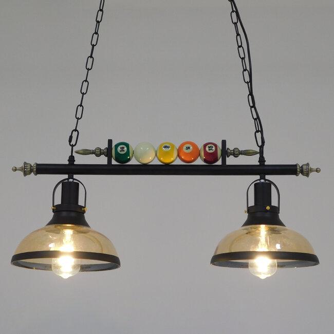 Vintage Industrial Κρεμαστό Φωτιστικό Οροφής Δίφωτο Mαύρο Μεταλλικό  BILLIARD SERIES 00972 - 2