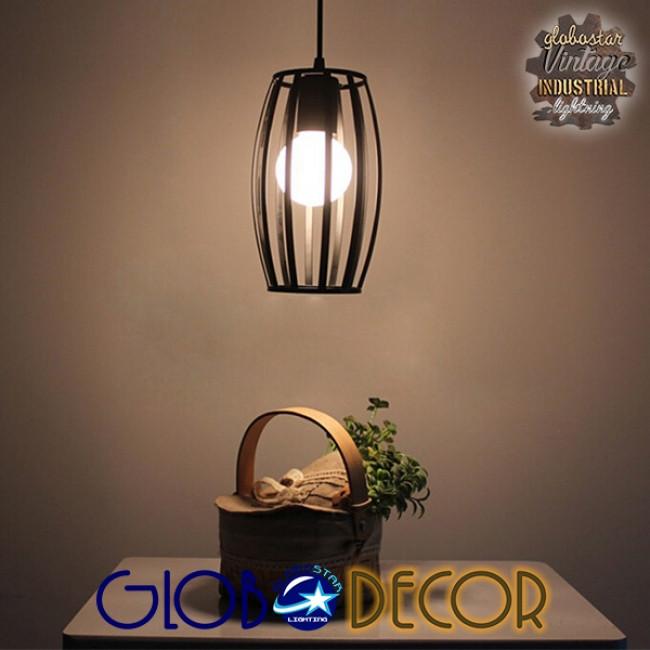 Vintage Industrial Κρεμαστό Φωτιστικό Οροφής Μονόφωτο Μαύρο Μεταλλικό Πλέγμα Φ14  ZEBRA 01062 - 10