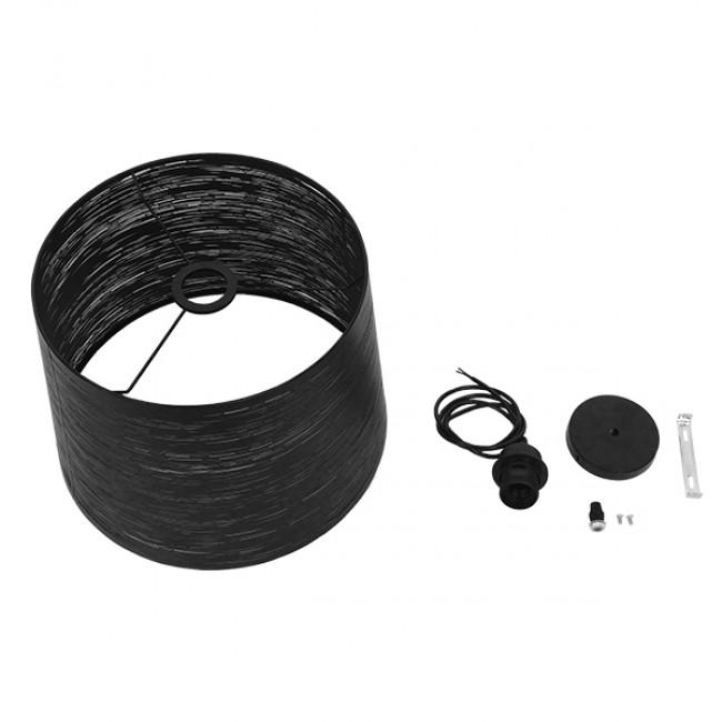 Μοντέρνο Industrial Κρεμαστό Φωτιστικό Οροφής Μονόφωτο Μεταλλικό Μαύρο Καμπάνα Φ35  ATLANTIS 01556 - 10