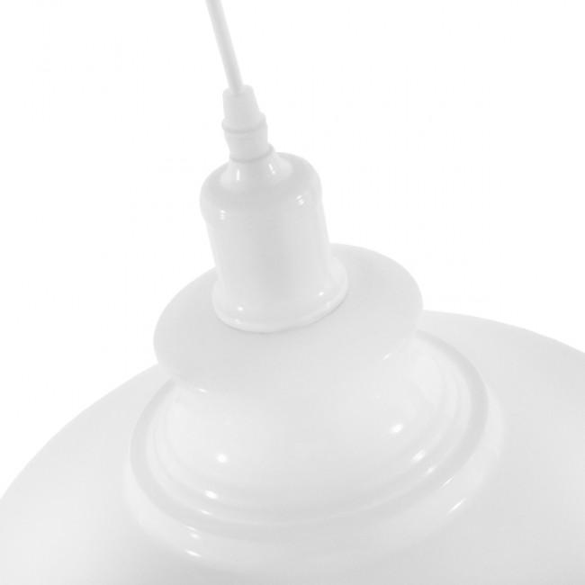 Μοντέρνο Κρεμαστό Φωτιστικό Οροφής Μονόφωτο Λευκό Χρυσό Μεταλλικό Καμπάνα Φ35 GloboStar OBERYN 00999 - 5