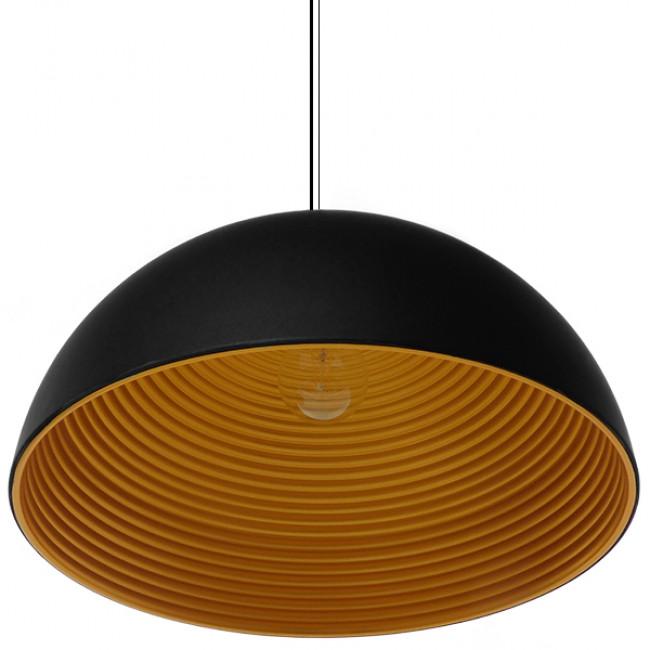 Μοντέρνο Κρεμαστό Φωτιστικό Οροφής Μονόφωτο Μαύρο Χρυσό Μεταλλικό Καμπάνα Φ60 GloboStar MEDEA 01344 - 3