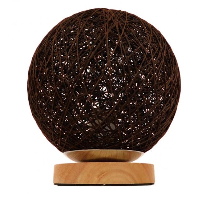 Μοντέρνο Επιτραπέζιο Φωτιστικό Πορτατίφ Μονόφωτο Καφέ Σκούρο Ξύλινο Ψάθινο Rattan Φ20 GloboStar WESTON 01337 - 3