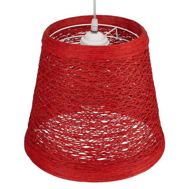PLAYROOM 00863 Vintage Κρεμαστό Φωτιστικό Οροφής Μονόφωτο Κόκκινο Ξύλινο Ψάθινο Rattan Φ32 x Υ27cm - 7