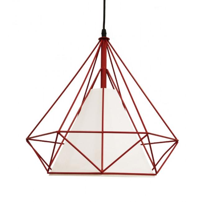 Μοντέρνο Industrial Κρεμαστό Φωτιστικό Οροφής Μονόφωτο Κόκκινο με Άσπρο Ύφασμα Μεταλλικό Πλέγμα Φ38 GloboStar KAIRI RED 01620 - 3