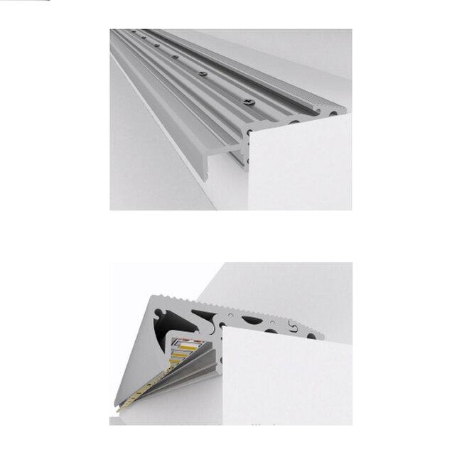 GloboStar® 70823-1M Προφίλ Αλουμινίου για Σκαλοπάτια Ανοδιωμένο με Λευκό Οπάλ Κάλυμμα για 1 Σειρά Ταινίας LED Πατητό - Press On - 7