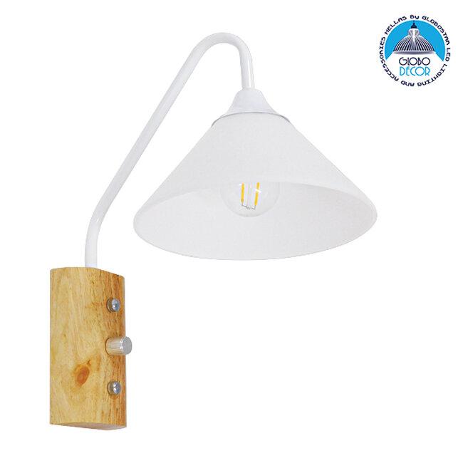 Μοντέρνο Φωτιστικό Τοίχου Απλίκα Μονόφωτο Λευκό με Ξύλινη Βάση Μεταλλικό Φ18  ALESSIA WHITE 01458 - 1