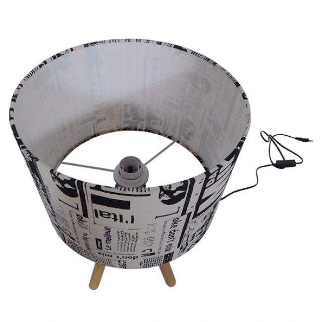 Μοντέρνο Επιτραπέζιο Φωτιστικό Πορτατίφ Μονόφωτο Ξύλινο με Άσπρο Μπεζ Καμβά Καπέλο Φ30 GloboStar MAGAZINE 01230 - 4