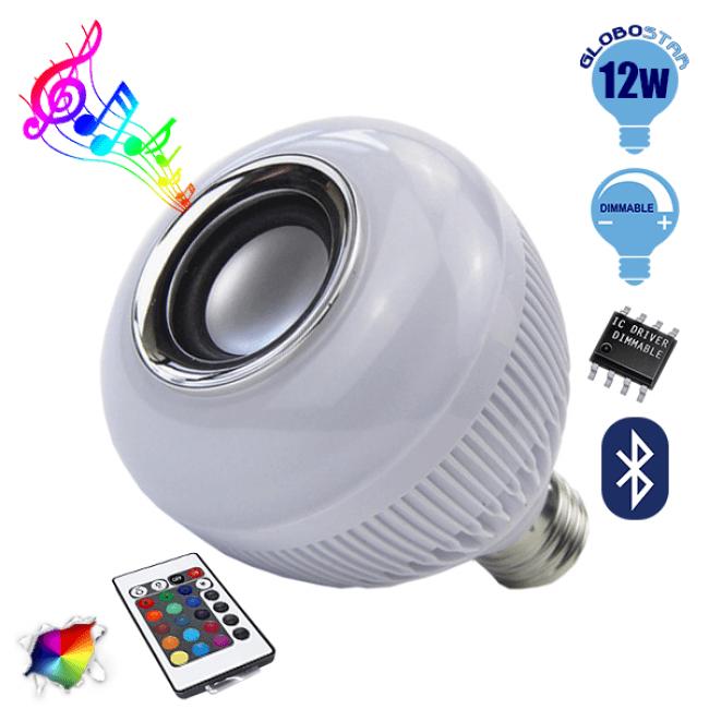 Λάμπα E27 12 Watt Bluetooth με Ηχείο και Ασύρματο Χειριστήριο RGBW GloboStar 06631 - 1