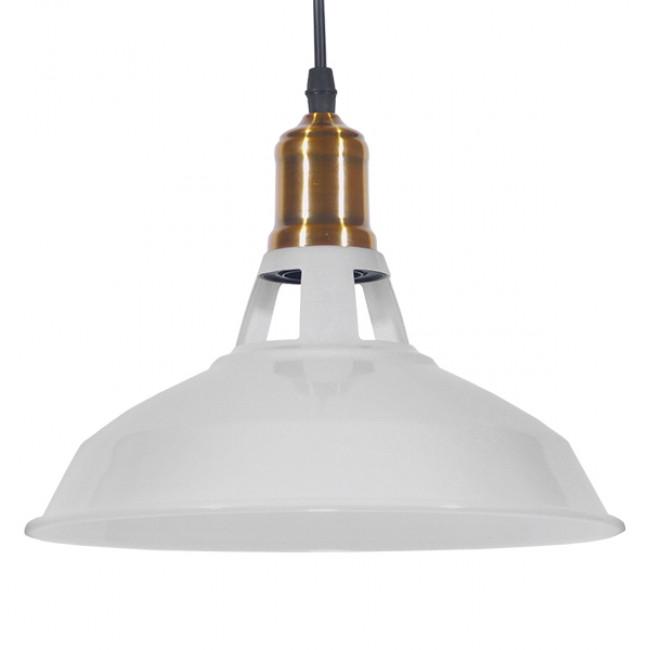 Vintage Industrial Κρεμαστό Φωτιστικό Οροφής Μονόφωτο Λευκό Μεταλλικό Καμπάνα Φ28 GloboStar ANER WHITE 01072 - 1