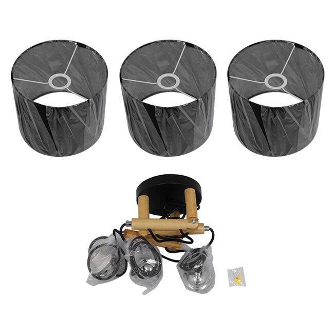 Μοντέρνο Κρεμαστό Φωτιστικό Οροφής Τρίφωτο Μαύρο με Ξύλο και Υφασμάτινα Καπελα Φ67  RAMSON BLACK 01525 - 7