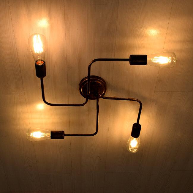 GloboStar® LIBERTA 00839 Μοντέρνο Φωτιστικό Οροφής Πολύφωτο Χάλκινο Σκουριά Μ44.5 x Π44.5 x Υ12cm - 3