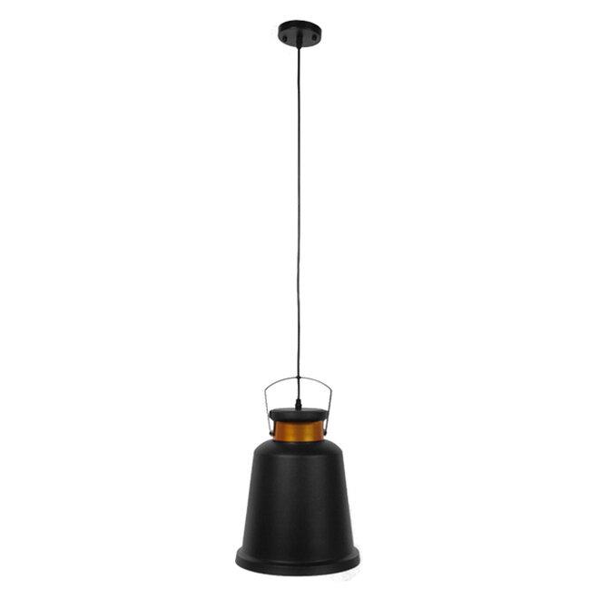 Vintage Industrial Κρεμαστό Φωτιστικό Οροφής Μονόφωτο Μαύρο Μεταλλικό Καμπάνα Φ27  NUNZIATA 01236 - 2
