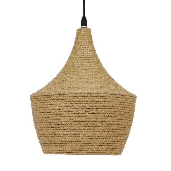 Vintage Κρεμαστό Φωτιστικό Οροφής Μονόφωτο με Μπεζ Σχοινί Καμπάνα  BEIJING Φ24 00916 - 4