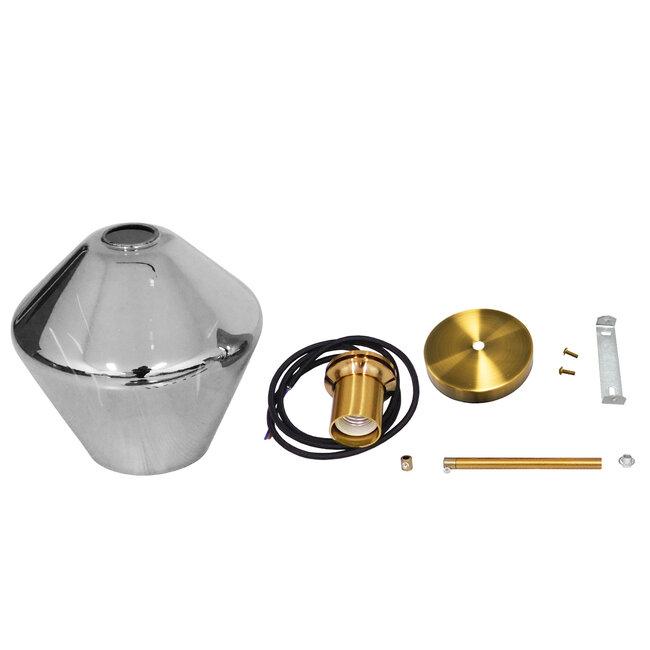 GloboStar® AMARIS 00872 Μοντέρνο Κρεμαστό Φωτιστικό Οροφής Μονόφωτο Γυάλινο Φιμέ Νίκελ Φ22 x 22CM - 7