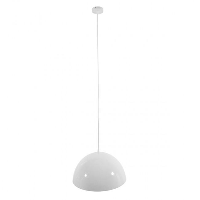 Μοντέρνο Κρεμαστό Φωτιστικό Οροφής Μονόφωτο Λευκό Χρυσό Μεταλλικό Καμπάνα Φ40  LUNE 01339 - 2