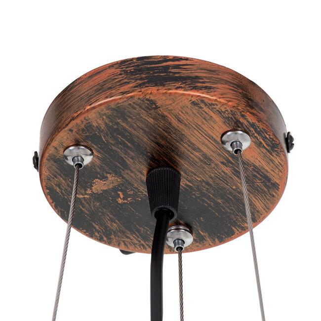 TOKEN 00856 Μοντέρνο Industrial Κρεμαστό Φωτιστικό Οροφής Τρίφωτο Καφέ Σκουριά Μεταλλικό Πλέγμα Φ43 x Υ29cm - 8