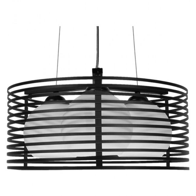 Μοντέρνο Κρεμαστό Φωτιστικό Οροφής Τρίφωτο Μαύρο Μεταλλικό Πλέγμα με Καμπάνα απο Λευκό Γυαλί Φ40 GloboStar KEVIA 01150 - 3