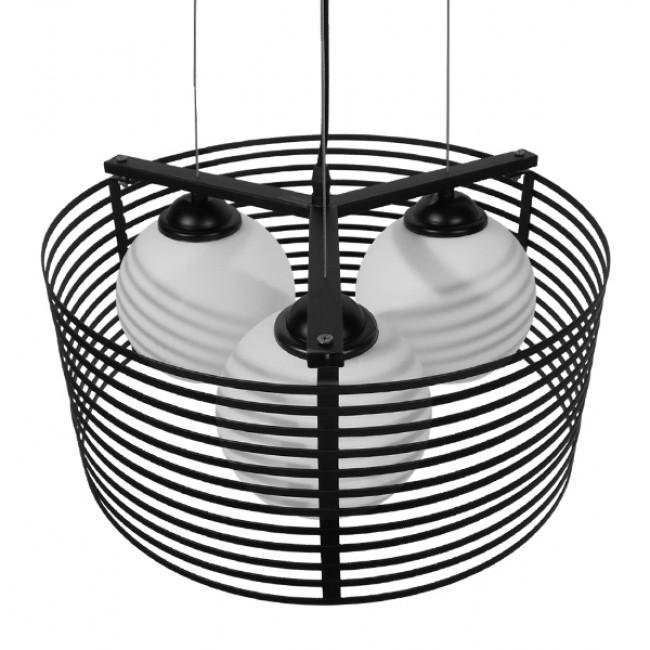 Μοντέρνο Κρεμαστό Φωτιστικό Οροφής Τρίφωτο Μαύρο Μεταλλικό Πλέγμα με Καμπάνα απο Λευκό Γυαλί Φ40 GloboStar KEVIA 01150 - 4
