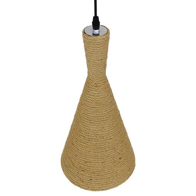 Vintage Κρεμαστό Φωτιστικό Οροφής Μονόφωτο με Μπεζ Σχοινί Καμπάνα  BEIJING Φ20 00918 - 7