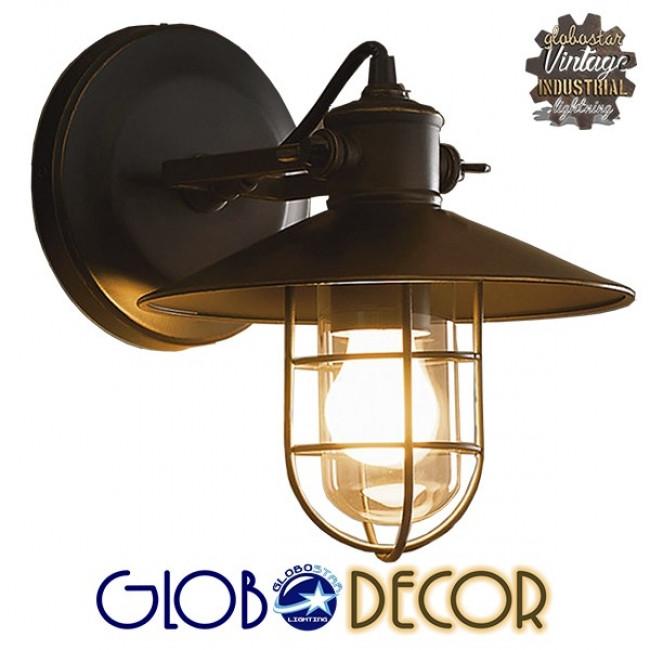 Vintage Industrial Φωτιστικό Τοίχου Απλίκα Μονόφωτο Μαύρο Μεταλλικό Πλέγμα με Καμπάνα Φ27 GloboStar CELL 01118 - 2