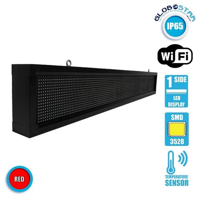 Αδιάβροχη Κυλιόμενη Επιγραφή SMD LED 230V USB & WiFi Κόκκινη Μονής Όψης 168x20cm GloboStar 90261